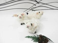Needle felted baby lambs felted white sheep spring by CurlyFurr
