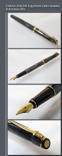 CARAN D'ACHE Equinoxe Grey Marble Fountain Pen (resin body, gold-plated trim and nib) - 2000's / Switzerland