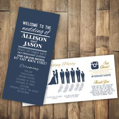 Wedding Program Turquoise And Gold Navy Dot Invitation