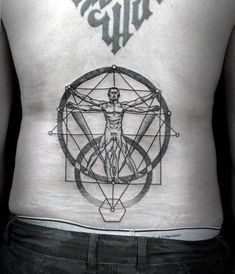 Mens Vitruvian Man Geometrical Lower Back Tattoos