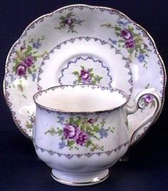 Royal Albert Petit Point bone china cup and saucer.  The pattern has been discontinued. (This cup and saucer was added to my collection in the 60's.)