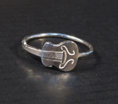Silver guitar ring, music ring novelty ring, holiday sale on Etsy, 108.19₪