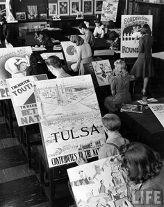 Students in Will Rogers High School Commercial Art class making posters for civic promotion and national defense. Tulsa, Oklahoma, 1942. By Alfred Eisenstaedt