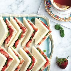 These summer tea sandwiches bring together sweet berries, fragrant herbs and creamy cheese in an unforgettable afternoon snack. High Tea Sandwiches, Tee Sandwiches, Finger Sandwiches, English Tea Sandwiches, Strawberry Recipes For Summer, Strawberry Tea, Strawberry Shortcake, Afternoon Tea Parties, Afternoon Snacks