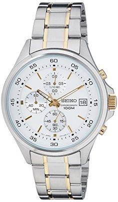 This handsome gents Seiko watch is made from two-tone steel/gold plate and is powered by a chronograph quartz movement. It fastens a two tone bracelet and has a white dial. The watch also has a date function. SKS479P1 Silver & Gold Chronograph Men's Watch Seiko Official Authorised Stockists 2 Year Manufacturer Warranty