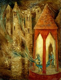 """Remedios Varo emigrated to Mexico after Spanish Civil War. This surrealist painter had an understandable thing for castles. Art Database, Salvador Dali, Surreal Art, Dark Art, Les Oeuvres, Art History, Magritte, Mystic, Fantasy Art"