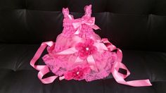 Hot Pink Baby Dress  infant Lace Dress  Baby Flower by linydress