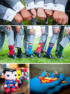 Top Superhero Wedding Favors Love these superhero groomsmen! See all the details from Victor & Jenn's Real Wedding.Love these superhero groomsmen! See all the details from Victor & Jenn's Real Wedding. Geek Wedding, Wedding Men, Wedding Pics, Wedding Themes, Wedding Ideas, Marvel Wedding Theme, Avengers Wedding, Wedding Details, Wedding Ceremony