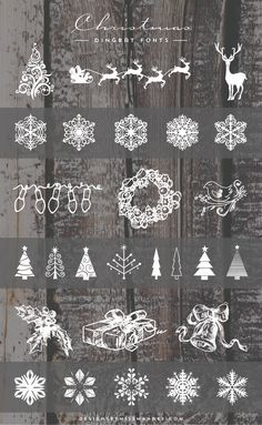 Lovely Christmas dingbat fonts for your holiday designs. These cute clip art snowflakes, reindeer, and Christmas trees are sure to add some holiday cheer!