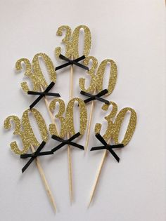 Gold 30th Cupcake Toppers with Black Bows 30th by Cardoodle