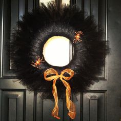 Halloween wreath made with a styrofoam ring and tulle
