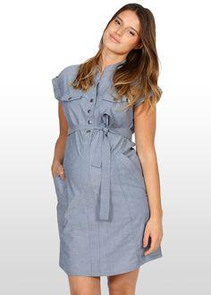 b1f967739e301 Chambray Maternity Dress - a wardrobe essential. Maternity Shorts, Maternity  Swimwear, Maternity Tops