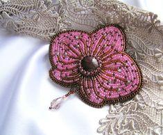 """Купить Брошь """"Орхидея"""" - розовый, брошь, брошь цветок, орхидея, бисерная брошь, бисерная вышивка"""
