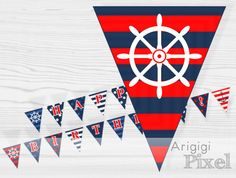 Happy Birthday Party Banner nautical printable PDF by ArigigiPixel, $5.99