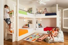 The four older kids sleep in extra-long bunk beds that leave room for growing. | Boston Globe