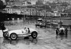 1936 Monaco, Monte Carlo : Louis Chiron (Mercedes Benz W25K) and Bernd Rosemeyer (Auto Union C) and Giuseppe Farina (Alfa Romeo 8C).  (ph: © Imagno)