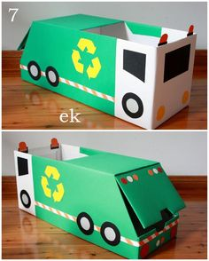 Box Car Tutorial {Part 2 – larger truck} Thanks for your interest in our box vehicles and for your patience while waiting for this tutorial. These larger trucks each use nappy/diaper boxes, for cars using only one box see Part 1 - sim. Cardboard Car, Cardboard Box Crafts, Cardboard Castle, Valentine Day Boxes, Valentines For Boys, Homemade Valentines, Valentine Wreath, Valentine Ideas, Valentine Crafts