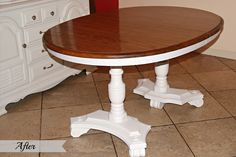 Painted Dining Room Table I would have painted the whole table white ! ~Kelli~