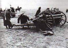 Polish horse artillery practice on their guns. Although they were outdated pieces, salvaged from the old Tzarist days, they nevertheless were moderately successful against German armor. (Sikorski Institute), pin by Paolo Marzioli Poland Ww2, Military History, Armed Forces, World War Ii, Cannon, Wwii, Guns, Old Things, Horses