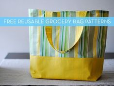 Free Bag Pattern and Tutorial - Market Tote Bag {Finished tote is wide x high x deep} Bag Patterns To Sew, Tote Pattern, Sewing Patterns, Wallet Pattern, Tote Bag Pattern Free Easy, Quilt Patterns, Reusable Shopping Bags, Reusable Bags, Grocery Tote Bags