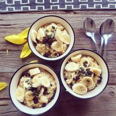 mimikonn - Breakfast: Quinoa cooked in cashew milk drizzled with maple syrup, sliced banana, pumpkin seeds and dried black currant. (My tip: can substitute cashew milk with unsweetened almond milk)