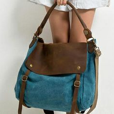 Mabel Avenue 'Lindsay' bag in brown leather and turquoise canvas.  Perfect for every day.
