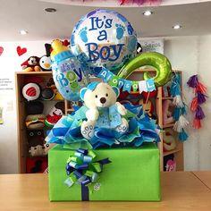 Bienvenido Alonso ✨ Balloon Centerpieces, Balloon Decorations, Baby Shower Decorations, Creative Gift Wrapping, Creative Gifts, Baby Shower Parties, Baby Shower Gifts, Regalo Baby Shower, Baby Room Storage