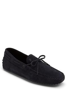 Tod's | 'Gommini' Lace-Up Moccasin Driving Shoe | night blue suede