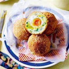 Truffle and parmesan potato scotch eggs. You can vary this recipe by leaving out the truffle and parmesan and stirring in spring onions and grated cheddar.