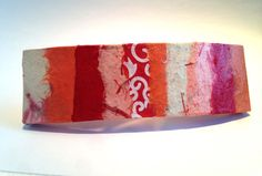 Hanji French Barrette Hair Pin OOAK Patchwork Red by HanjiNaty, $14.00