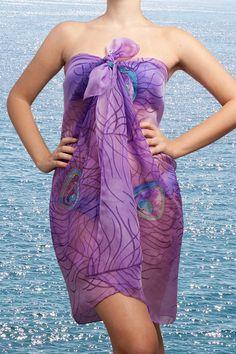 Elegant  Hand Painted Silk  Chiffon  Beach Sarong  by LigaKandele, $65.00
