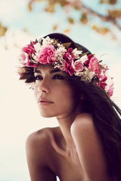 Flower Garlands http://thelane.com/backstage/  Tahitian Dreaming Editorial. Styling Karissa Fanning. Photography Darren Mcdonald http://thelane.com/backstage/post/2010-11-21-tahitian-dreaming