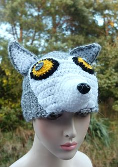 Food Pillows, Funny Pillows, Crochet Animal Hats, Crochet Hats, Wolf Hat, Nose Warmer, Like Animals, Cool Hats, Winter Accessories
