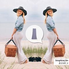 Vai dizer que não deu vontade de fazer um pic nic na praia? Com esta cestinha e este look estilosíssimo com a #saialongaroma não dá pra resistir... #vontadebásica #inspiraçãobásica