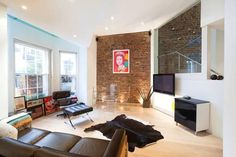 exposed brick feature wall #livingroom. In love with this