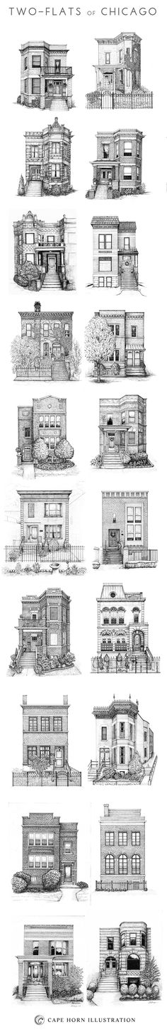 "Check out a print of the various home styles of Chicago here. Or check out this print of the ""siblings,"" three Chicago two-flats. Architecture Drawings, Architecture Design, Classic Architecture, Building Architecture, Art Et Design, Building Drawing, House Illustration, My Kind Of Town, House Drawing"