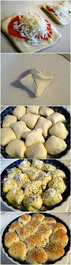 Pizza Rolls-This has been a family favorite for a long time. Never thought to bake them in a pie tin though....