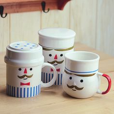 Japanese chef cute mustache mug milk cup coffee cup ceramic cup lovers cup with lid