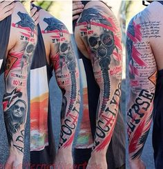 Awesome black and red trash polka sleeve tattoo style by artist Pontus Jonsson Red Tattoos, Body Art Tattoos, Sleeve Tattoos, Cool Tattoos, Tatoos, Tattoo Sleeves, Amazing Tattoos, Tattoo Trash, Trash Polka Tattoo