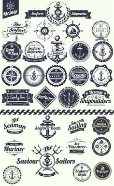 cute nautical themed vectors...  stamps/stickers for passports?