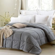 Super Oversized-High Quality-Down Alternative Comforter- Fits Pillow Top Beds - Grey #comforters