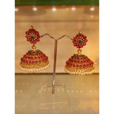 Royal Jhumkas with Precious Stones Gold Wedding Jewelry, Gold Rings Jewelry, Pendant Jewelry, Antique Jewelry, Gold Pendant, Gold Ring Designs, Gold Earrings Designs, Gold Jewellery Design, Ornaments Design