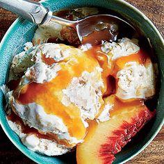 Peach Cobbler Ice Cream with Bourbon-Caramel Sauce from Cooking Light