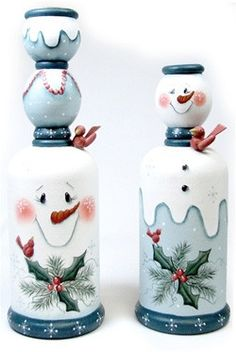 Snowmen Candlestick Duo E-Pattern Christmas Snowman, Christmas Holidays, Christmas Ornaments, Christmas Party Games, Christmas Decorations, Christmas Projects, Holiday Crafts, Painted Candlesticks, Candlestick Crafts