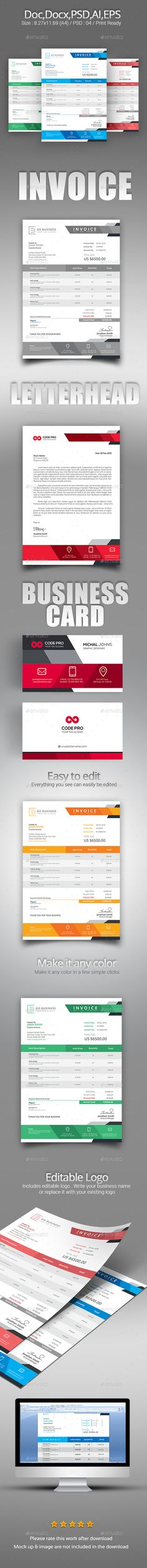 Business Letter Templates Free Download%0A Buy The Invoice Set by zeropixels on GraphicRiver  FEATURES  CMYK Color in   bleed Business card in with bleed Business Letterhead in with blee