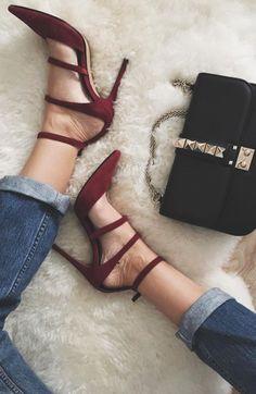 Strappy burgundy heels.