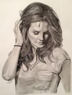 Stana Katic pencil drawing by Andrea Manzano.