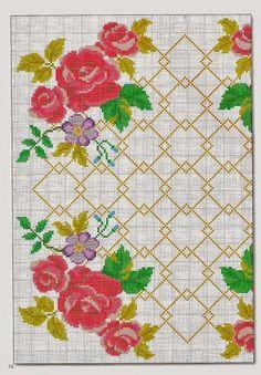 Gráfico ponto cruz para almofada florida