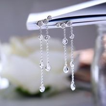 925 silver white round aaa cz crystal stud earring long chain linked fashion jewelry luxury bridal women engagement earring //FREE Shipping Worldwide //