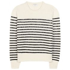 Saint Laurent - Striped Wool And Cashmere-Blend Sweater - With contrasting black stripes and ribbed detailing to the crew neck, cuffs and hem, it's perfect for everyday wear. - @www.mytheresa.com